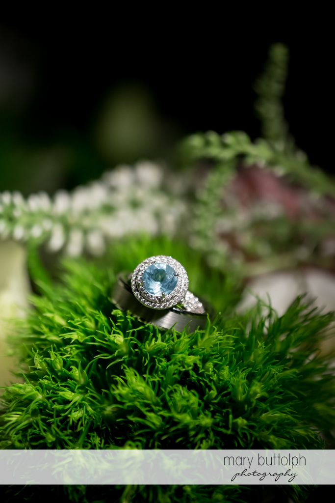 Close up of bride's wedding ring at the Inns of Aurora Wedding