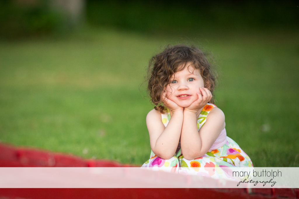 Close up shot of a girl in the garden at Skaneateles Lake Vacation