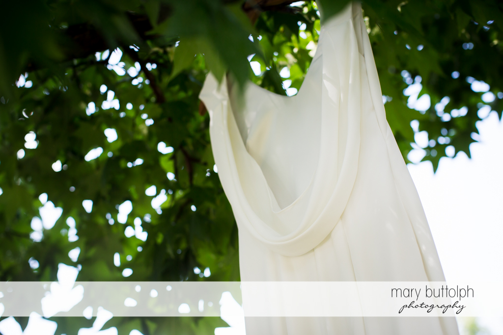 Bride's wedding dress hangs from a tree at Genesee Grande Hotel Wedding