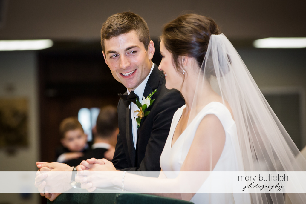 Couple face each other at the altar at Genesee Grande Hotel Wedding