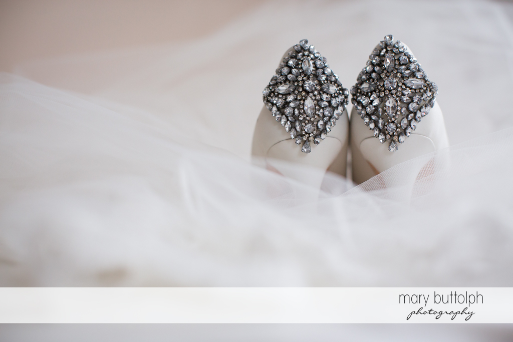 Back view of bride's wedding shoes at Genesee Grande Hotel Wedding