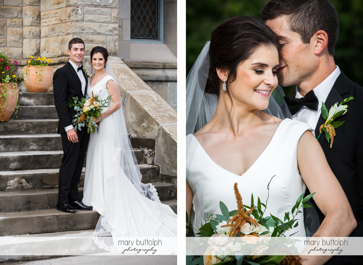 Couple n full body and medium shot at the church steps at Genesee Grande Hotel Wedding