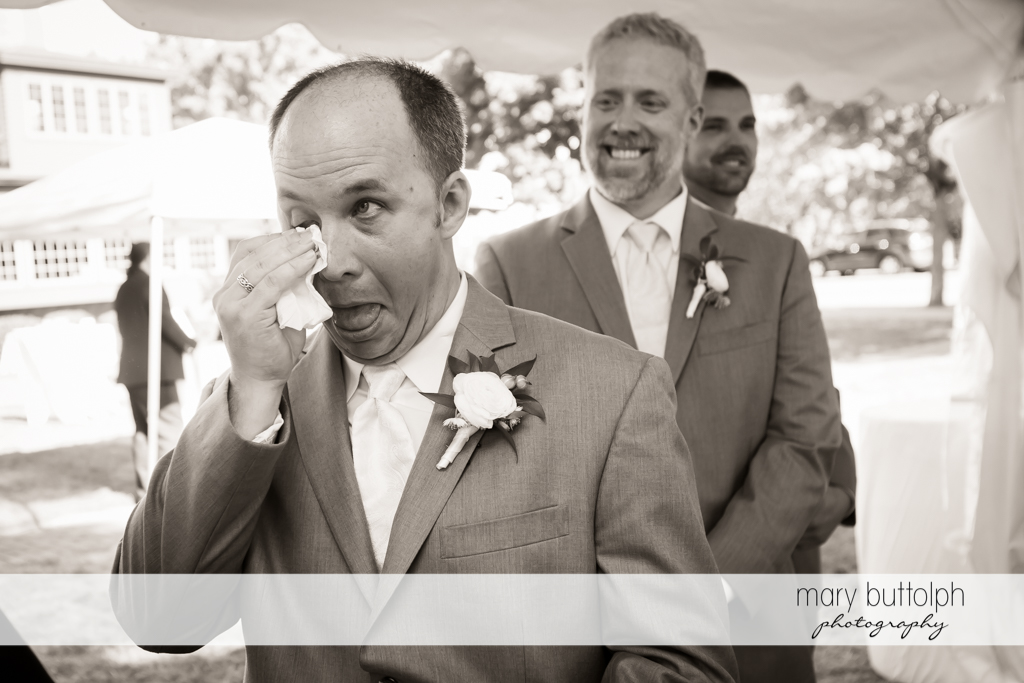 Groom cries as the wedding ceremony begins at The Sherwood Inn Wedding