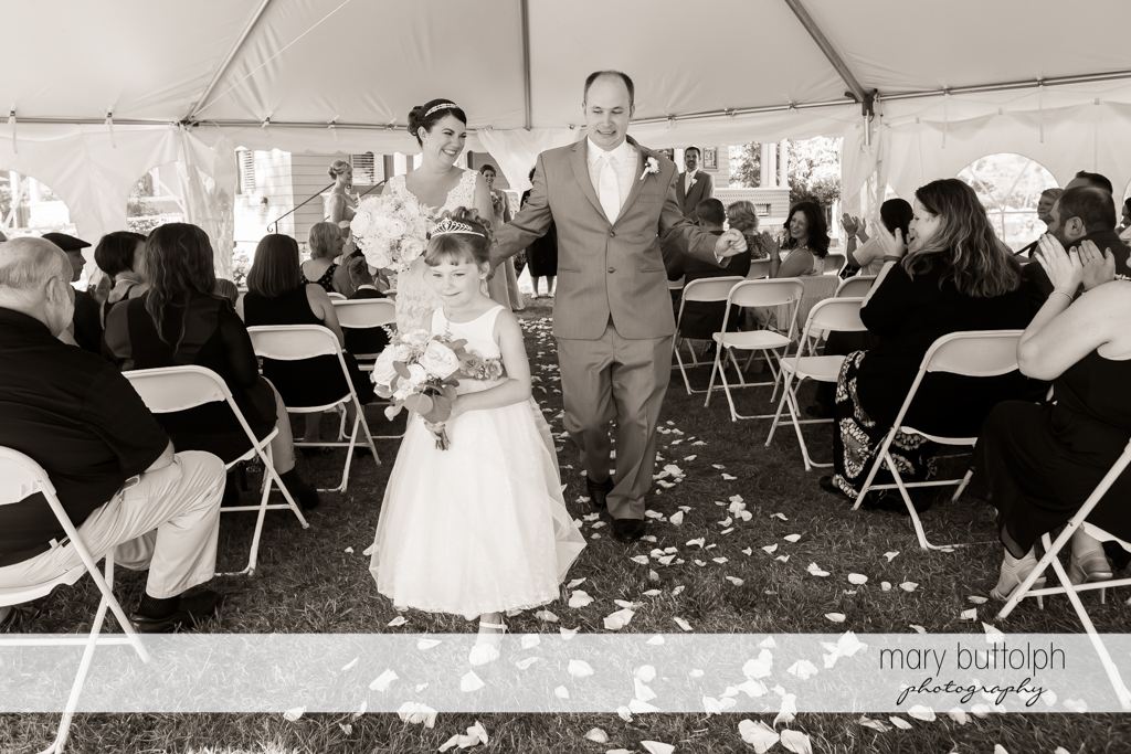 Couple leave the wedding tent at The Sherwood Inn Wedding