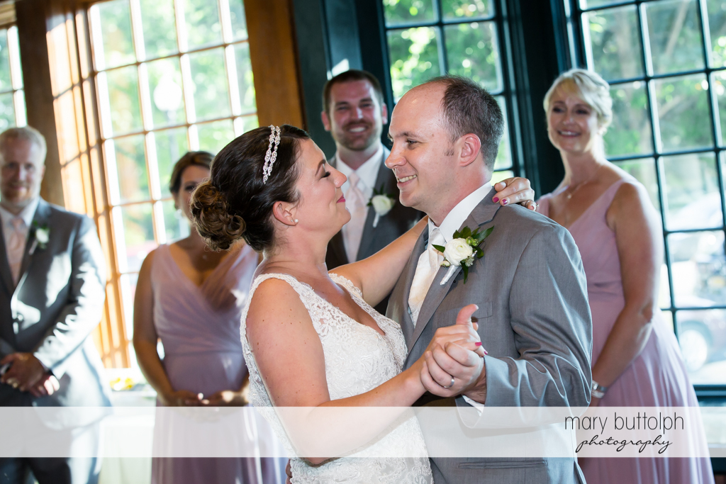Couple dance as guests look on at The Sherwood Inn Wedding
