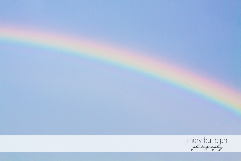Rainbow caught in photo at Skaneateles Country Club Wedding