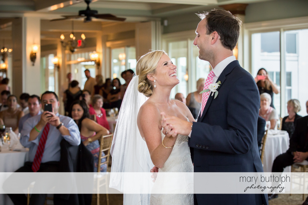 Couple dance as guests look on at Skaneateles Country Club Wedding