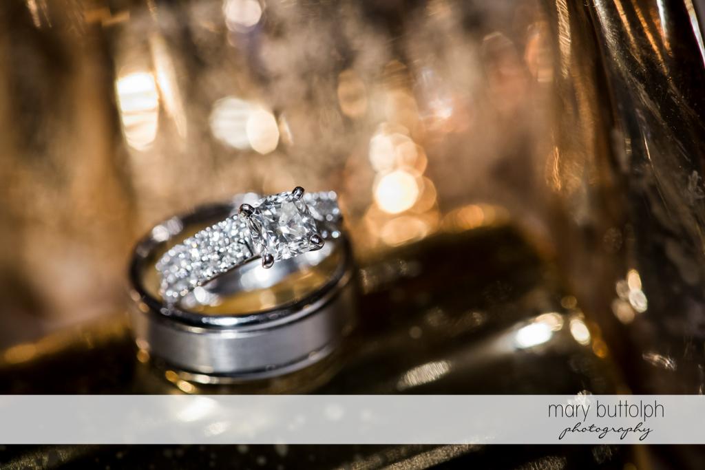 Close up shot of bride's wedding ring at Skaneateles Country Club Wedding