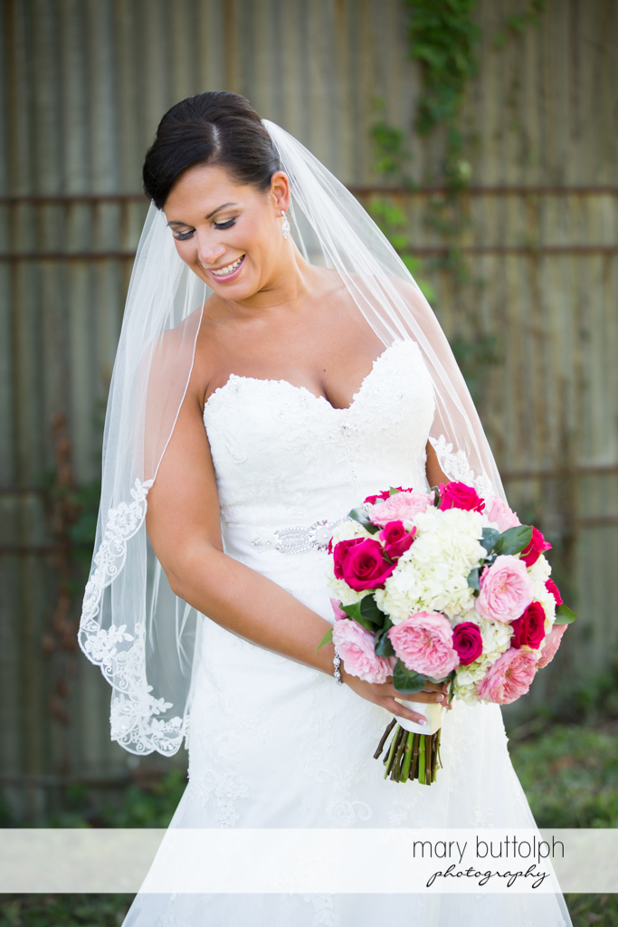 Bride with beautiful bouquet at The Lodge at Welch Allyn Wedding