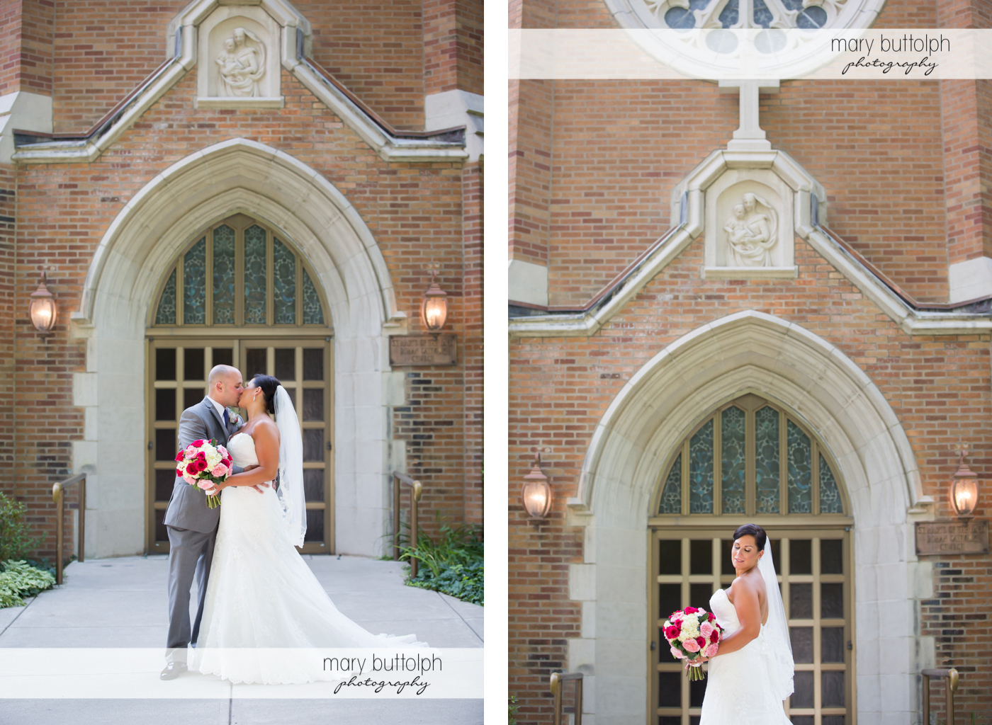 Couple kiss in front of the church and bride in solo pose at The Lodge at Welch Allyn Wedding