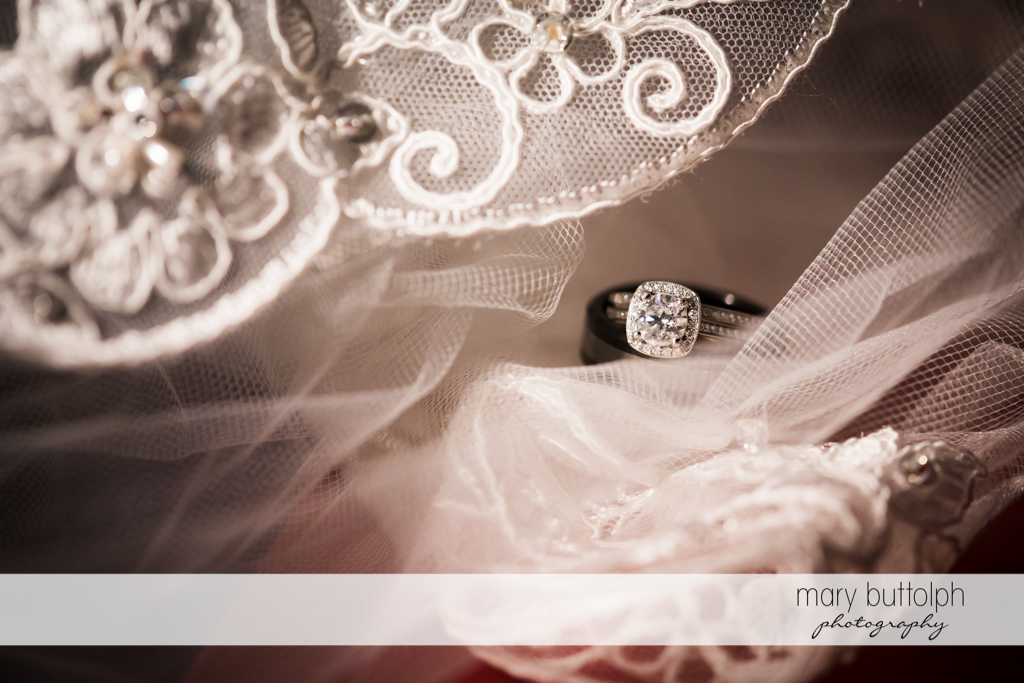 Bride's wedding ring on top of her veil at the Lodge at Welch Allyn Wedding