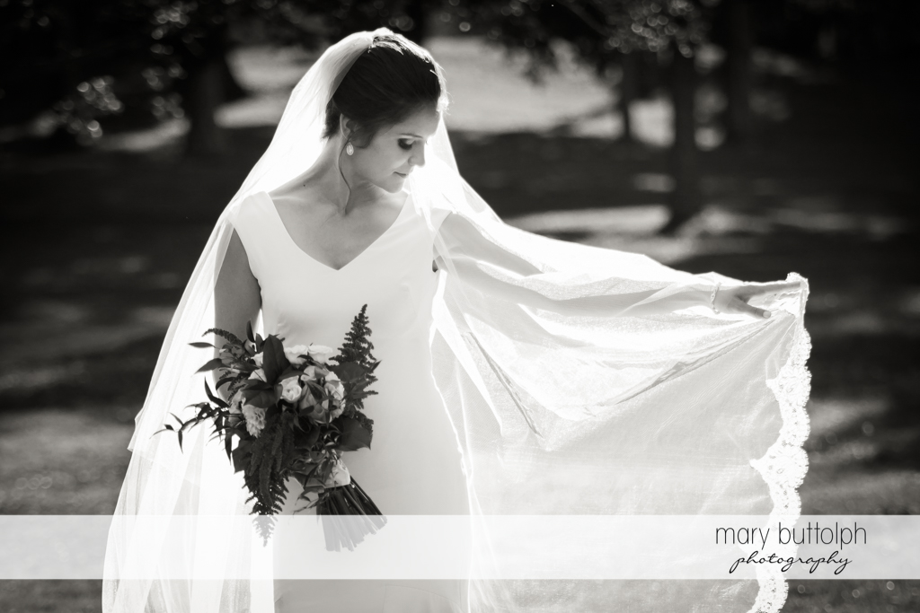 Bride in dramatic black and white shot at Syracuse Wedding