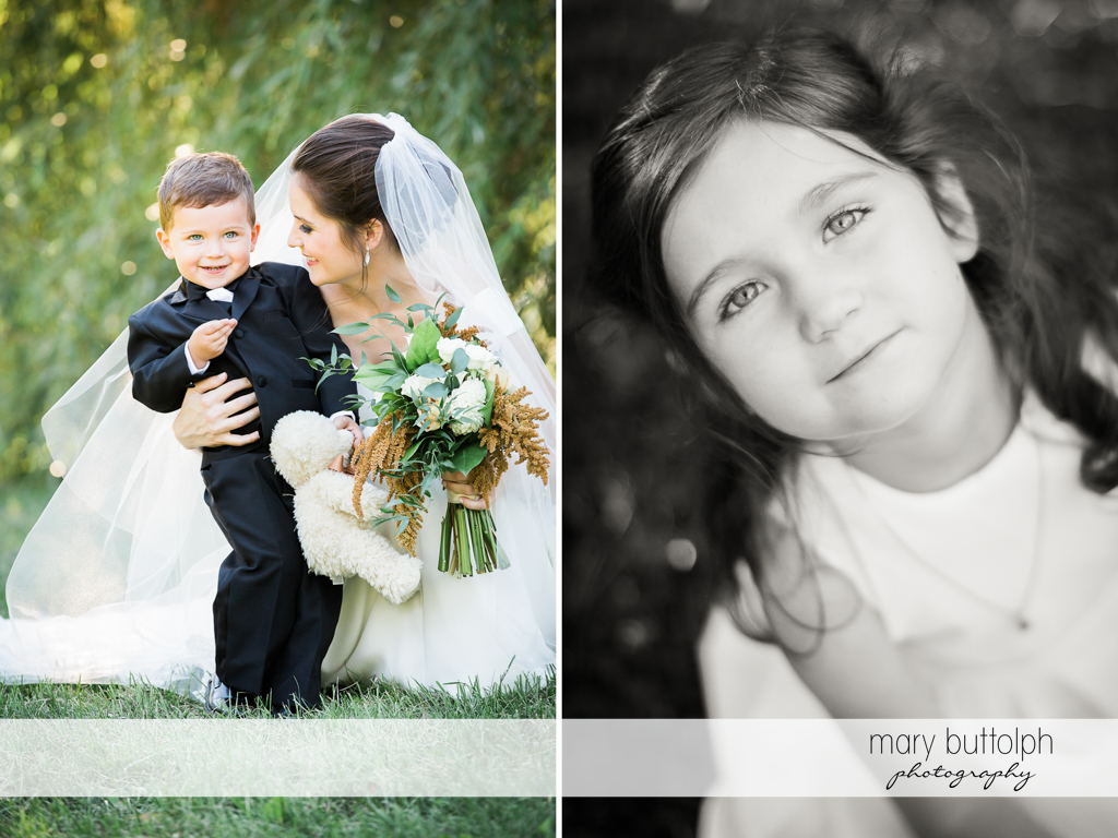 Bride pictured with her nephew and niece in the garden at Syracuse Wedding