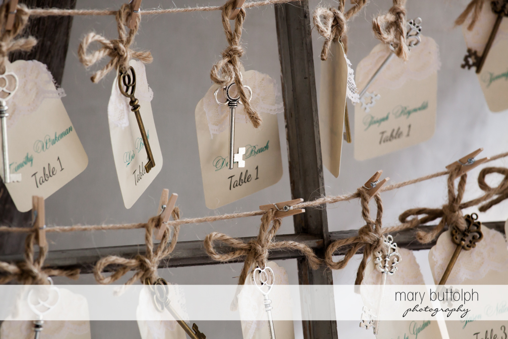 Keys await guests at the wedding reception at John Joseph Inn and Elizabeth Restaurant Wedding