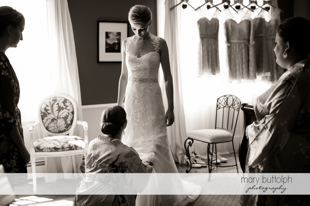 Bride getting ready for the big day at John Joseph Inn and Elizabeth Restaurant Wedding