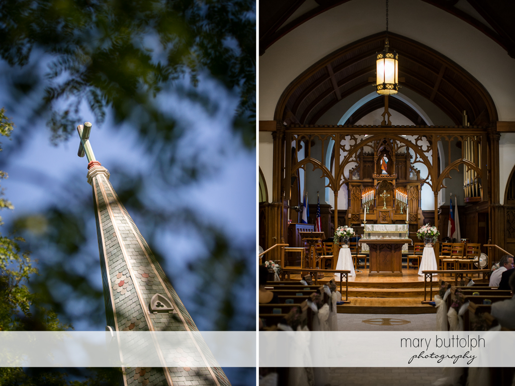 Church spire and altar at The Lodge at Welch Allyn Wedding