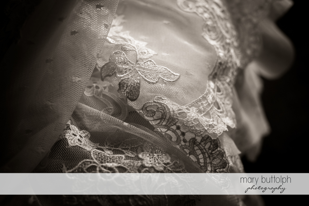 Detail of bride's wedding dress at The Lodge at Welch Allyn Wedding