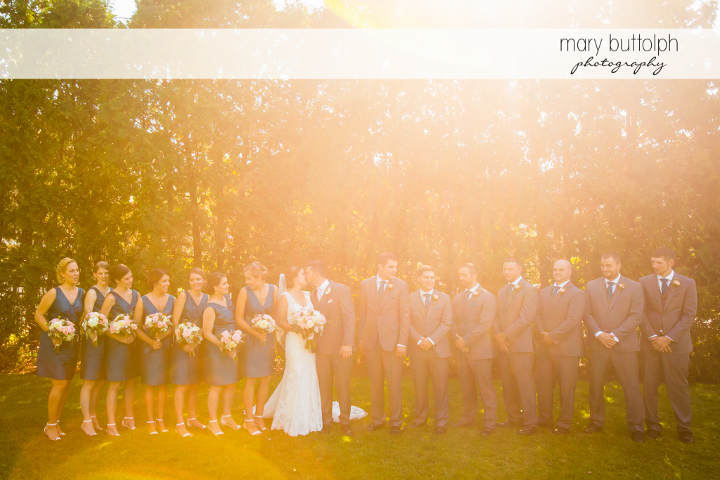 Couple with the bridesmaids and groomsmen at The Lodge at Welch Allyn Wedding
