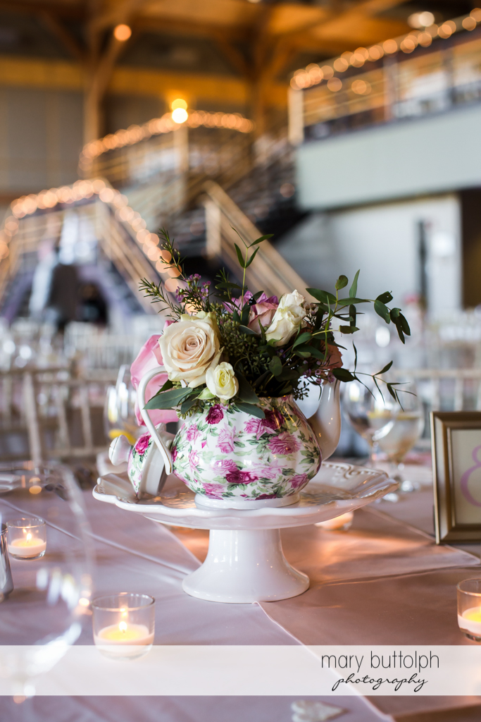 Flowers decorate the wedding venue at The Lodge at Welch Allyn Wedding