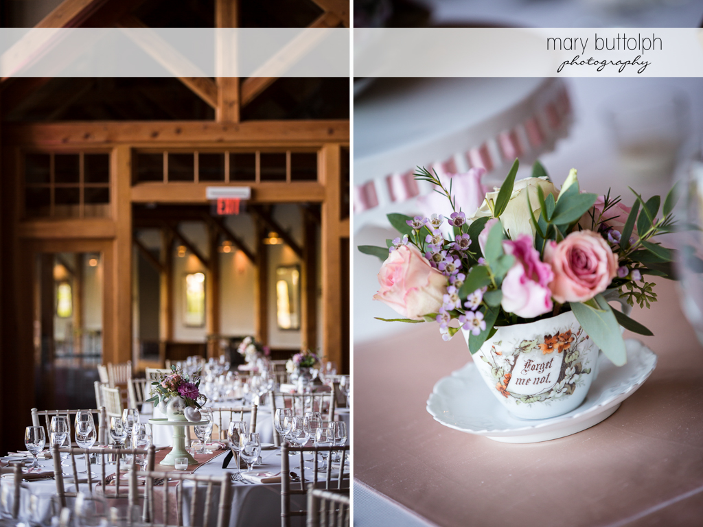 Flowers adorn the tables at the wedding venue at The Lodge at Welch Allyn Wedding