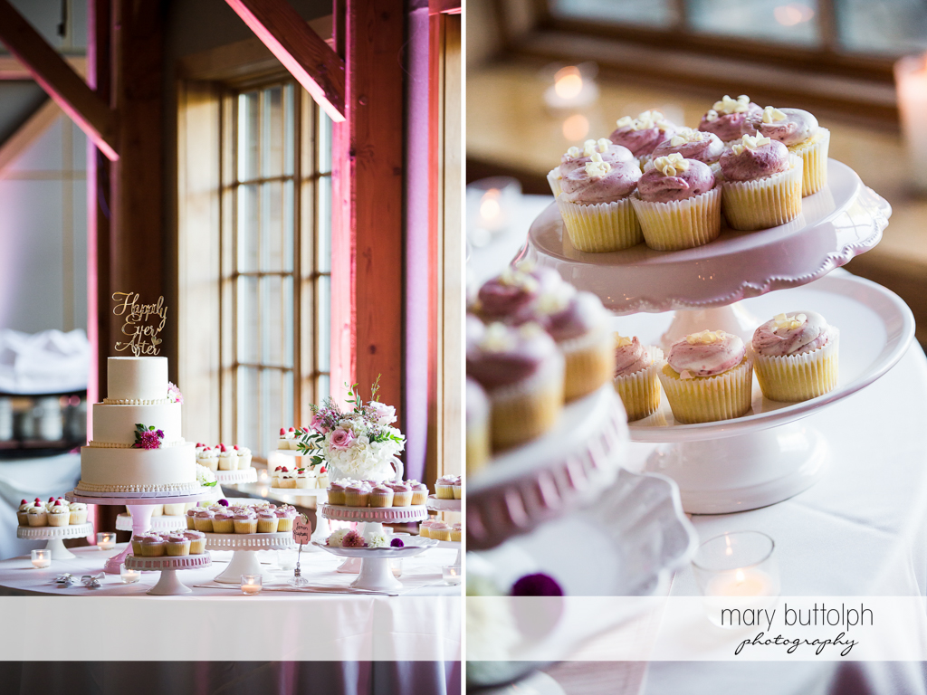Wedding cake towers above the cupcakes at The Lodge at Welch Allyn Wedding