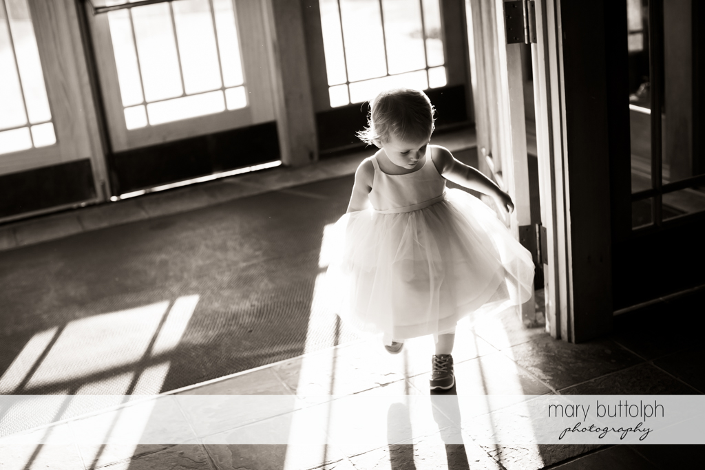 Girl plays at the wedding venue at The Lodge at Welch Allyn Wedding