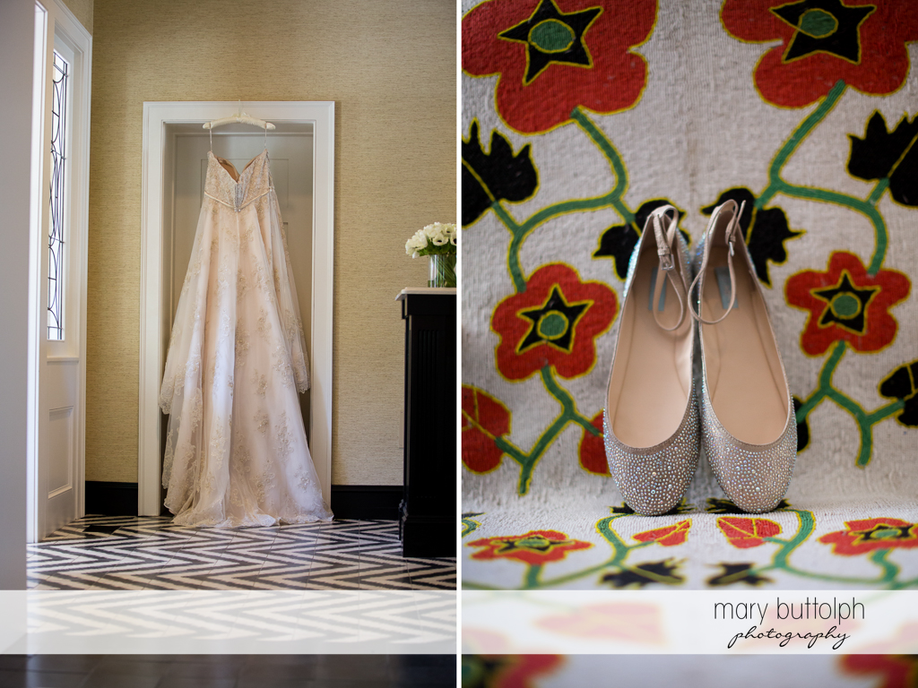 Bride's wedding dress and shoes in her room at Aurora Inn Wedding