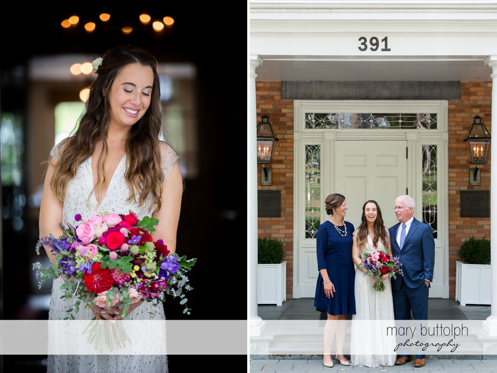 Bride holds flowers and poses with her parents at Aurora Inn Wedding