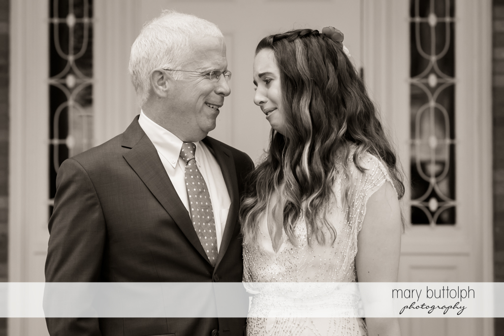 Bride feels like crying while talking to her dad at Aurora Inn Wedding