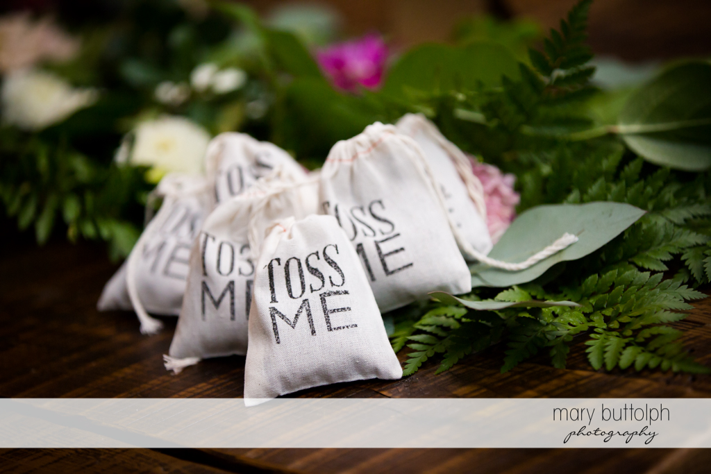 Things waiting to be thrown at the newly married couple at Aurora Inn Wedding