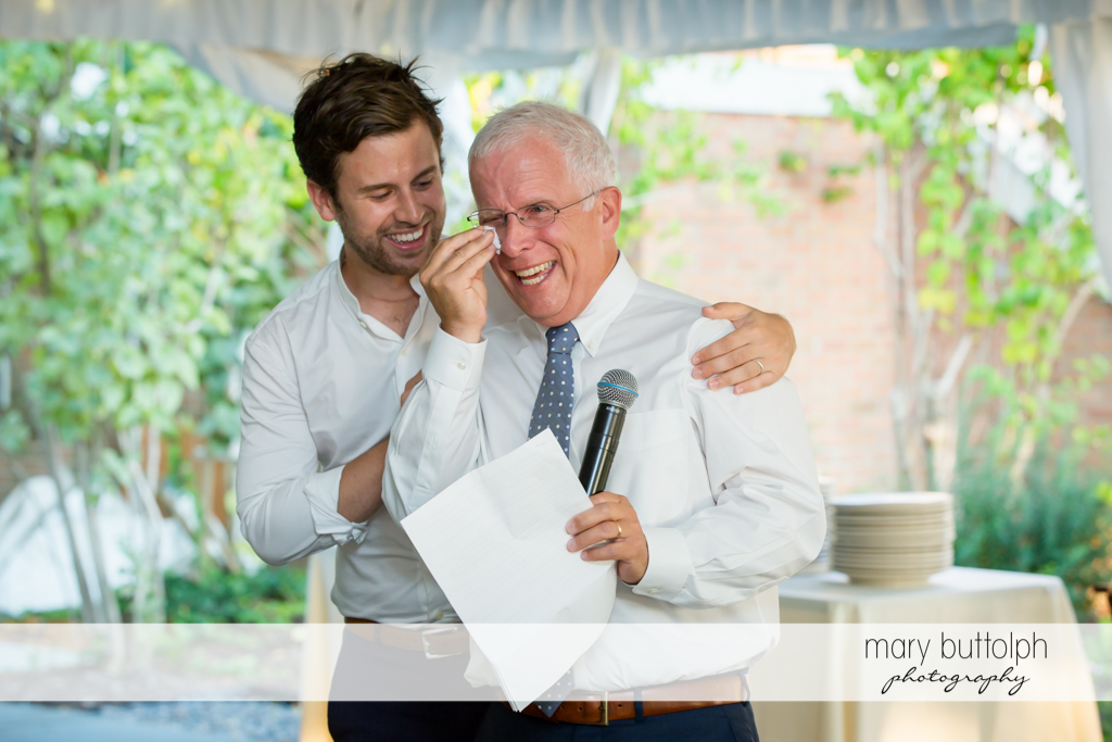 Bride's dad can't hold back the tears at Aurora Inn Wedding