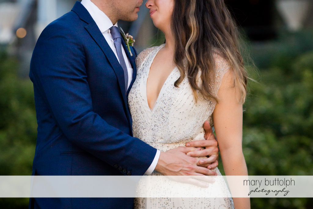 Couple's body language shows how much they love each other at Aurora Inn Wedding