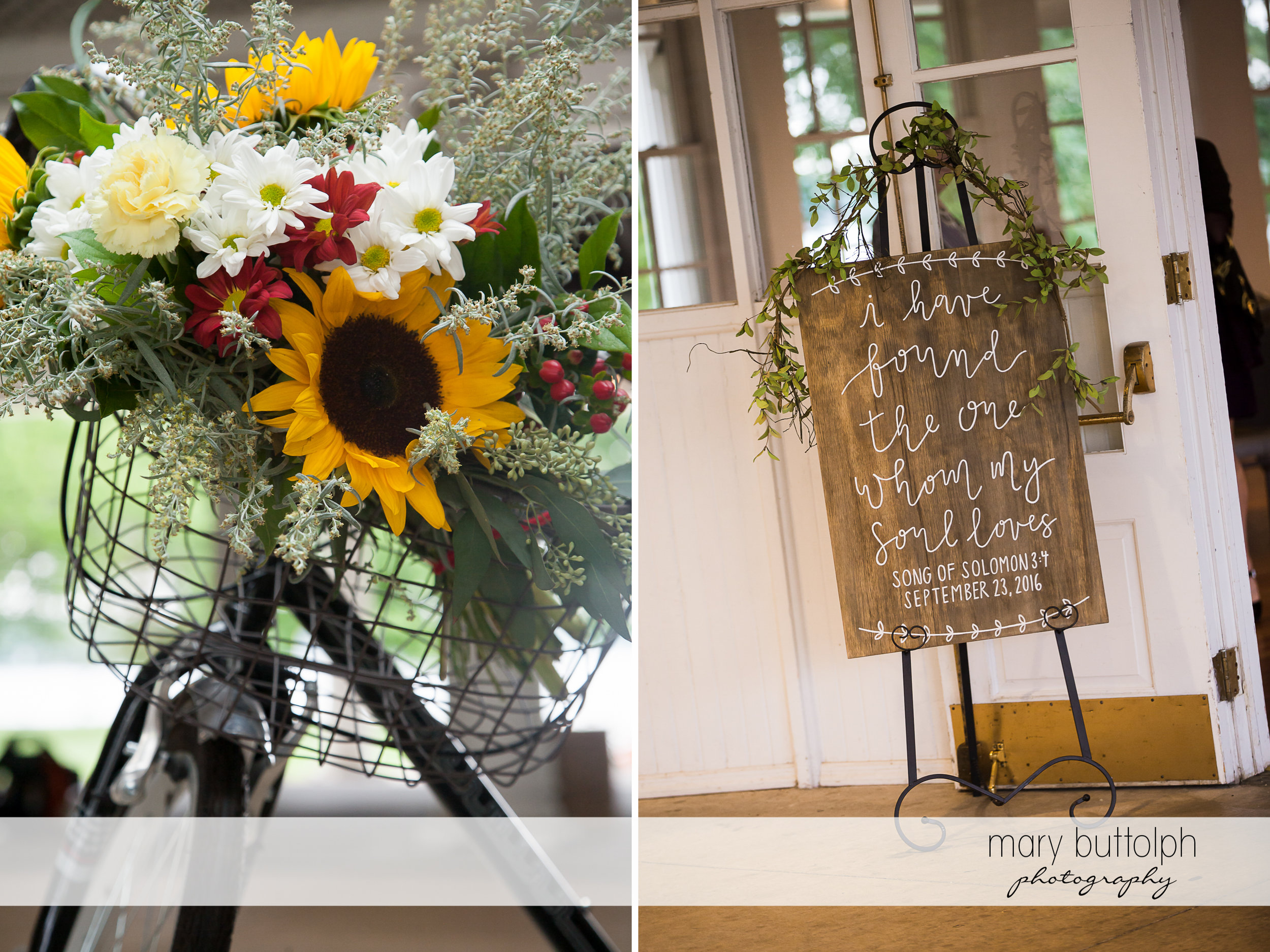Bicycle decorated with flowers and a sign proclaiming the couple's love at Emerson Park Pavilion Wedding