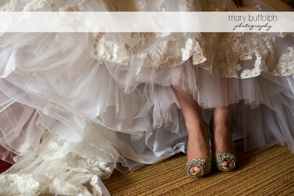 Bride shows off her wedding shoes at SKY Armory Wedding