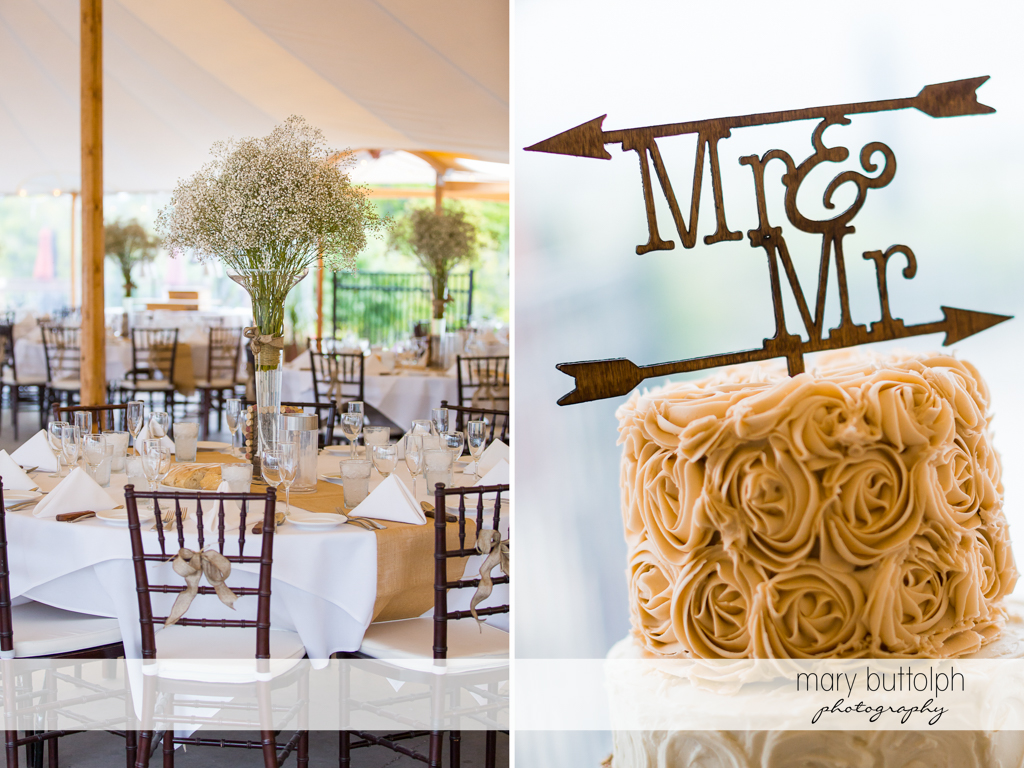 Same sex couple's wedding venue and their unique cake at Anyela's Vineyards Wedding