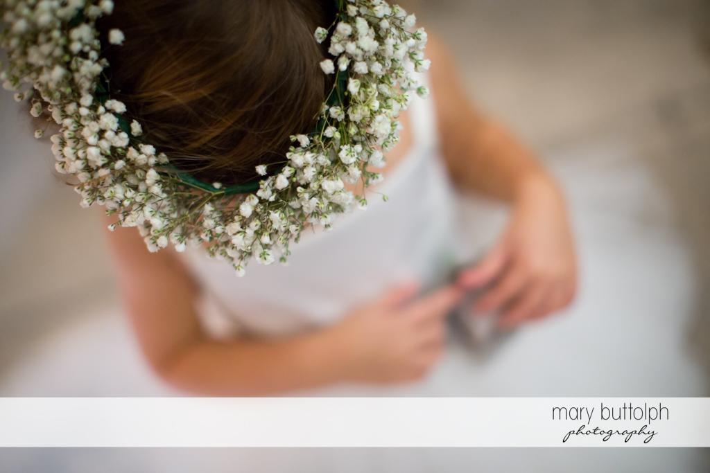 Top shot of flower girl at same sex couple marriage at Anyela's Vineyards Wedding