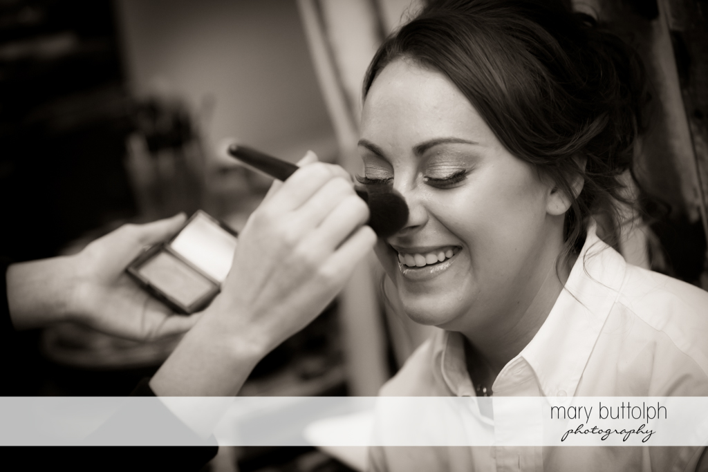 Bride having make-up applied before Sherwood Inn Wedding