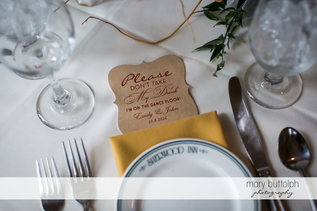 Friendly reminder at Sherwood Inn Wedding-