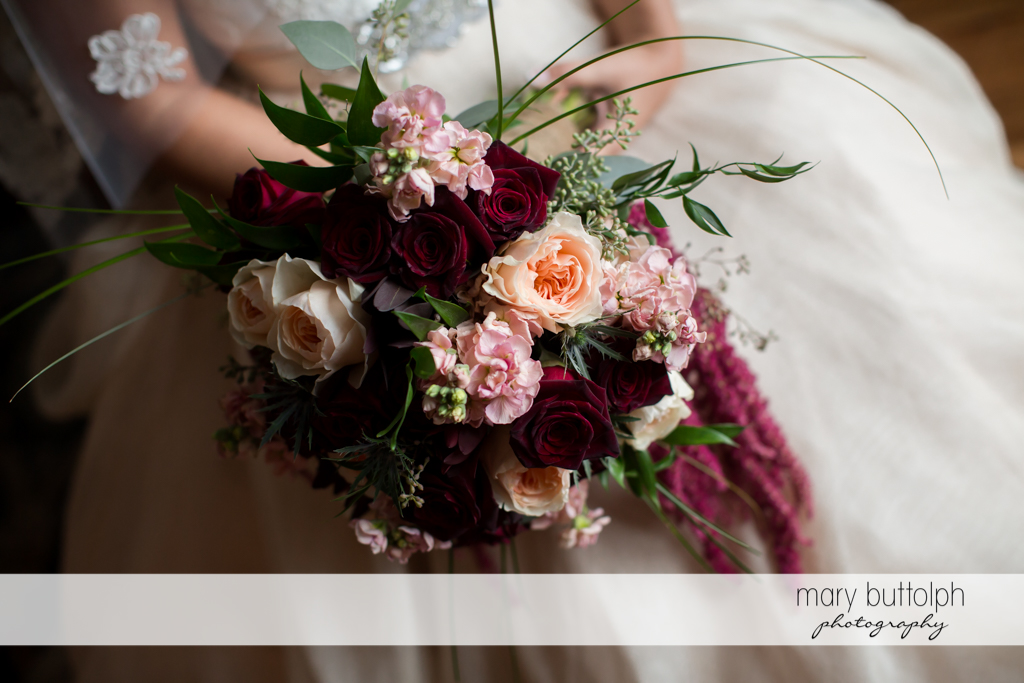 Bride with floral bouquet at Sherwood Inn Wedding