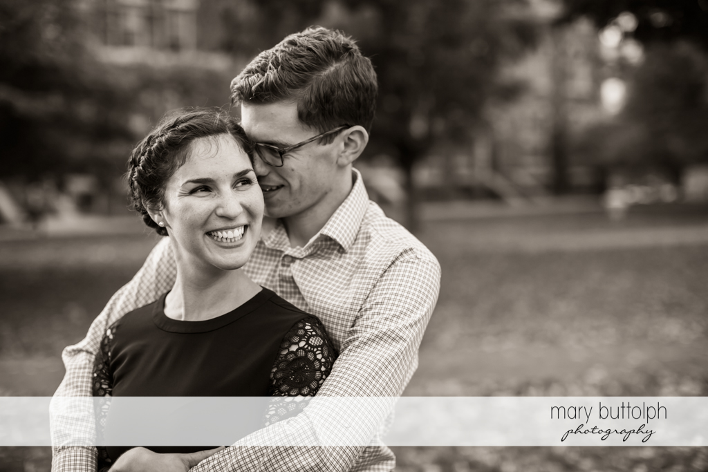Couple in good mood at Cornell University Engagement