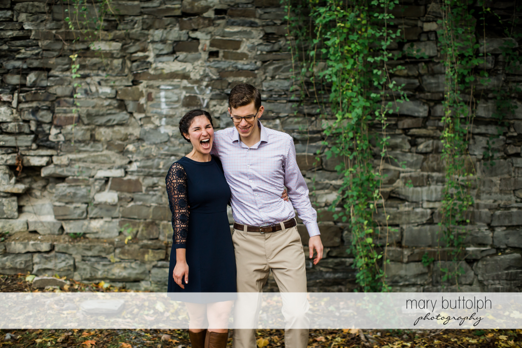 Couple in light mood at Cornell University Engagement