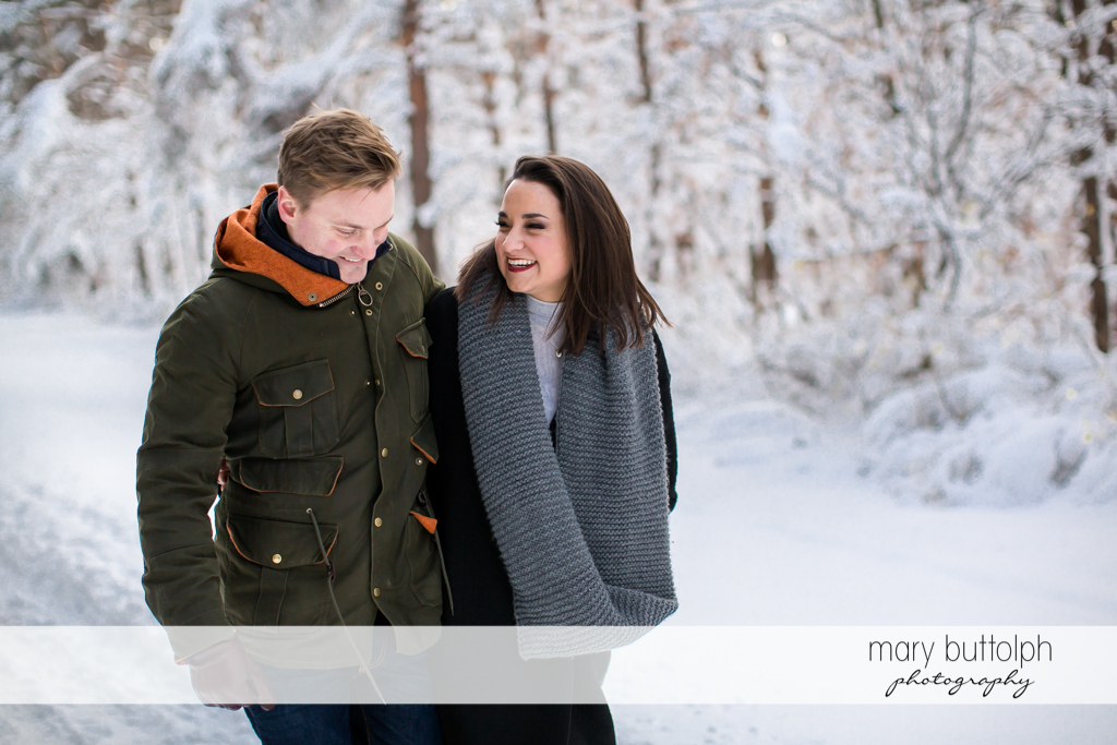 Couple stroll at the woods at Highland Forest Engagement