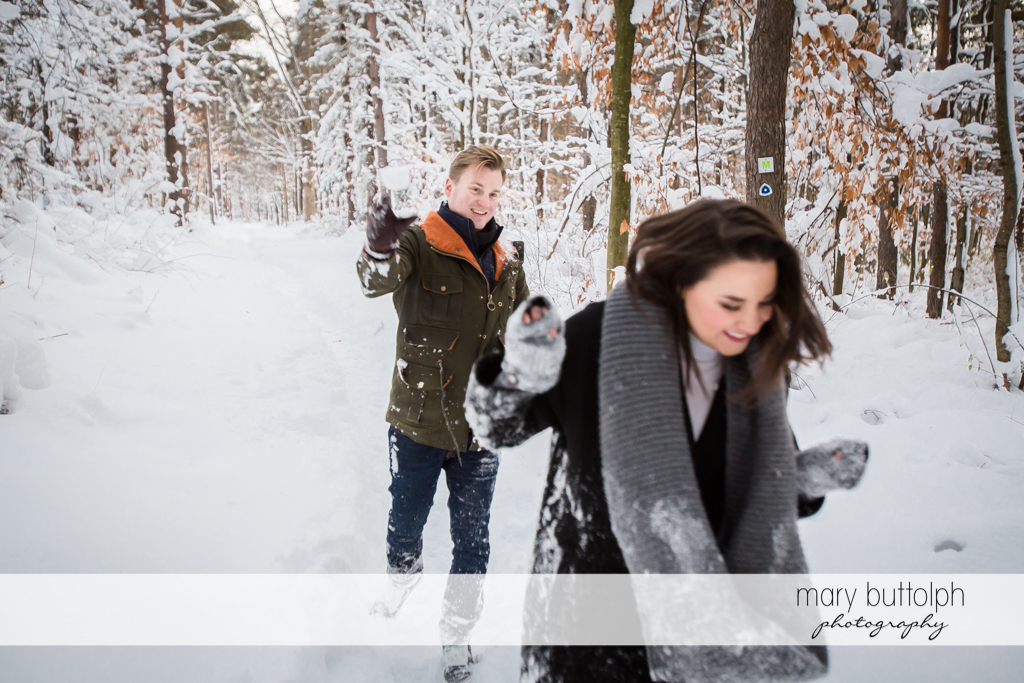 Couple in snowball fight at Highland Forest Engagement