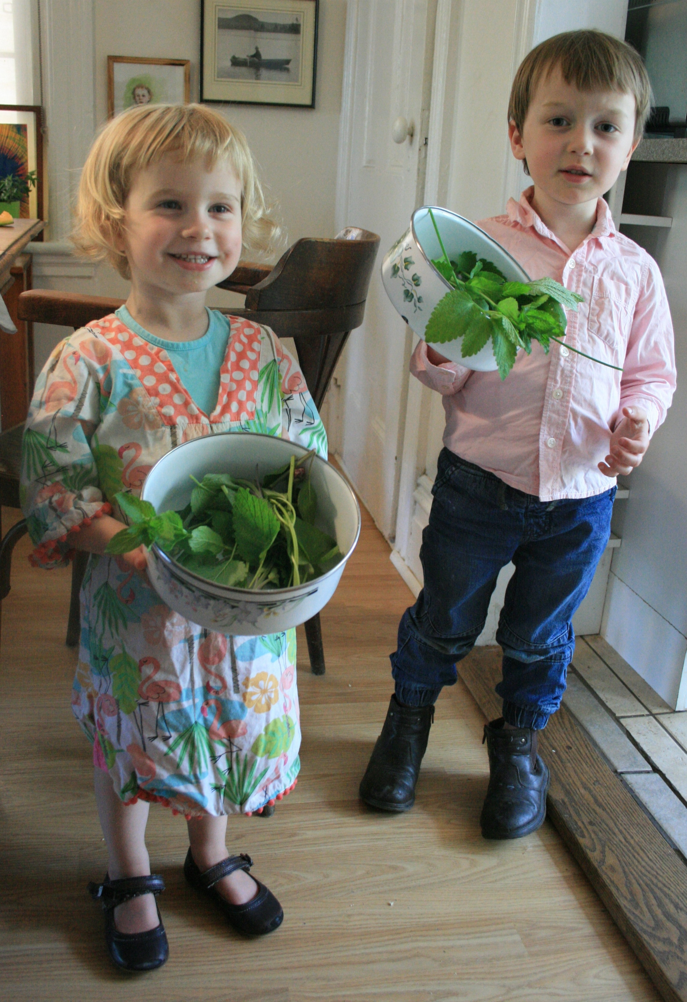 Last weekend, mint, lemon verbena, sage and sage flowers, and chive flowers all went in the bouquets. They chose their favourite party clothes for the afternoon too, of course.