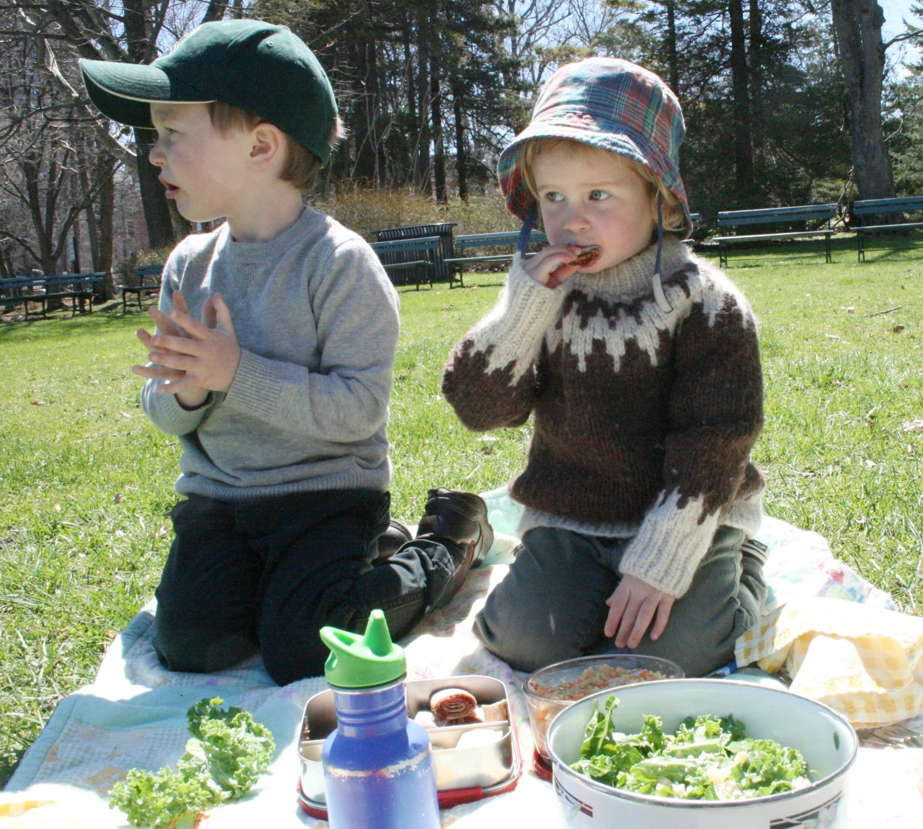 Kale salad and wraps in Halifax Public Gardens, late May. In Nova Scotia, we even picnic in wool sweaters.