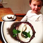 Sea urchin with cream and 4-year-old