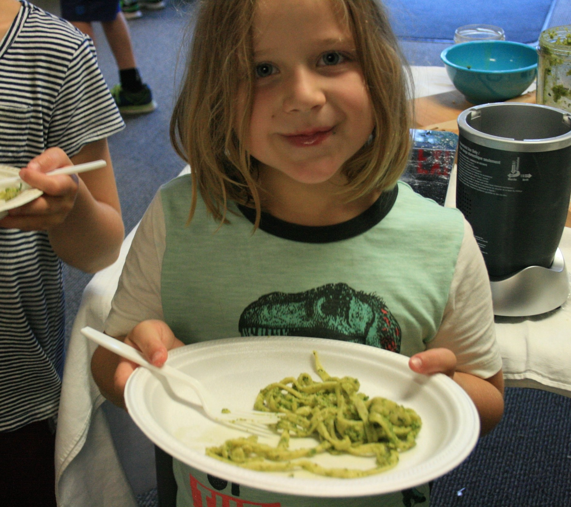 The fresh noodles with our own pesto were a big hit.