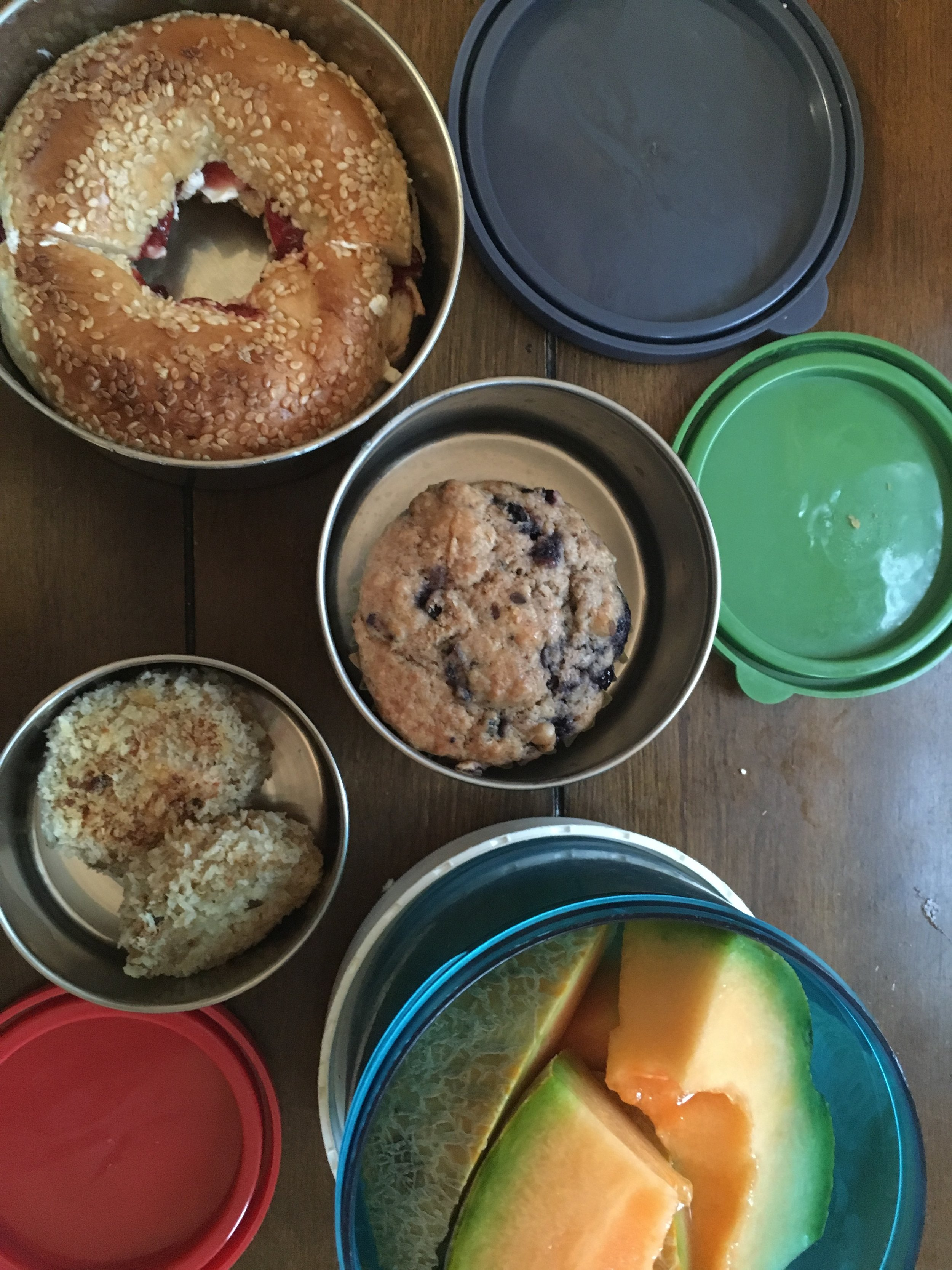 Lunch Day 3. From top: cream cheese and jam on bagel, blueberry flax muffin, quinoa-tuna cakes, and cantaloupe. (I also packed a muffin and cantaloupe for snacks on Days 1 and 2.)