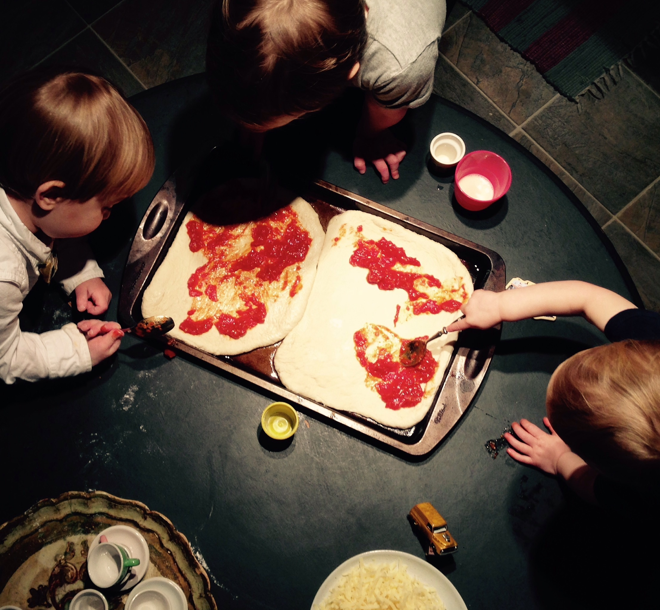 Pizza +kids in the kitchen = natural combo