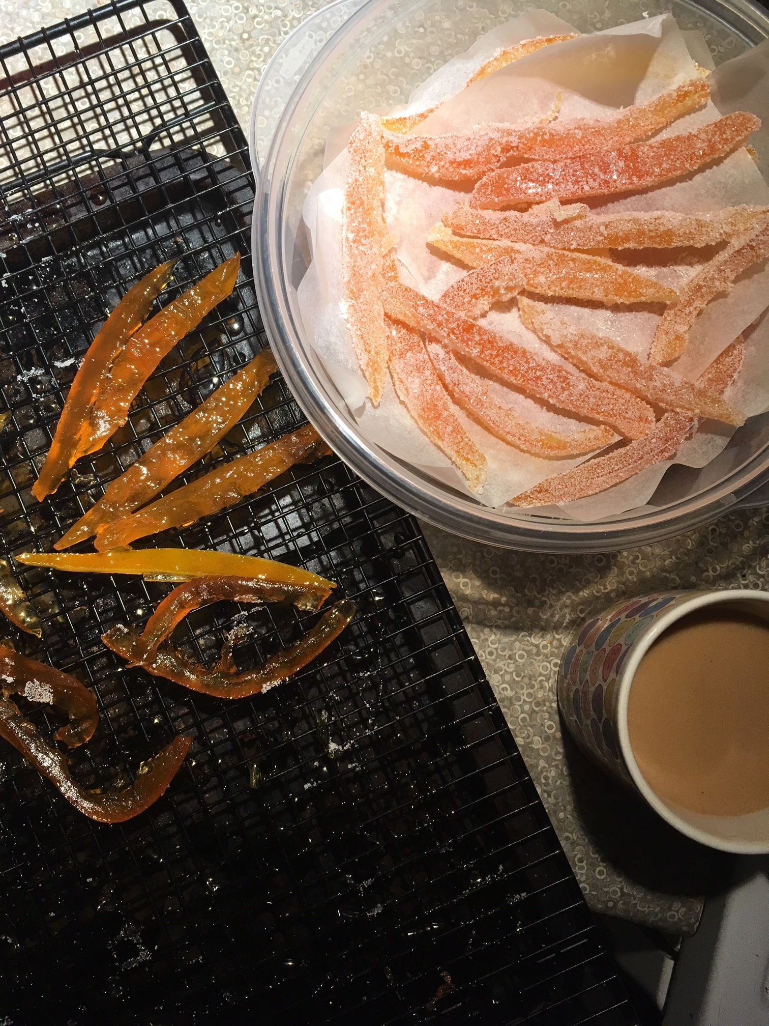 The next morning, toss the tacky peels in granulated sugar. (Drink coffee if performing this task at 7:00 am)